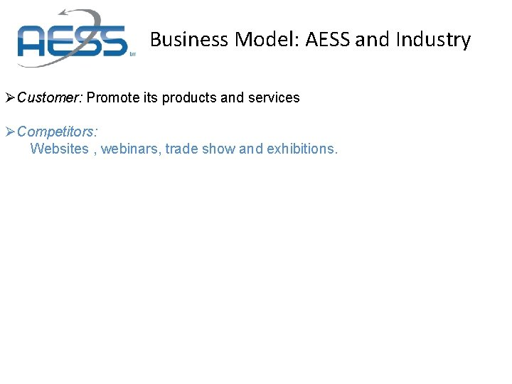 Business Model: AESS and Industry ØCustomer: Promote its products and services ØCompetitors: Websites ,