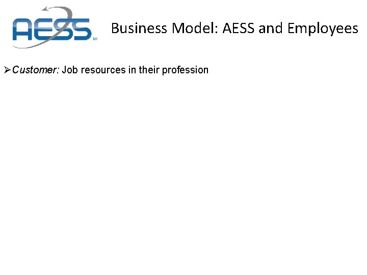 Business Model: AESS and Employees ØCustomer: Job resources in their profession