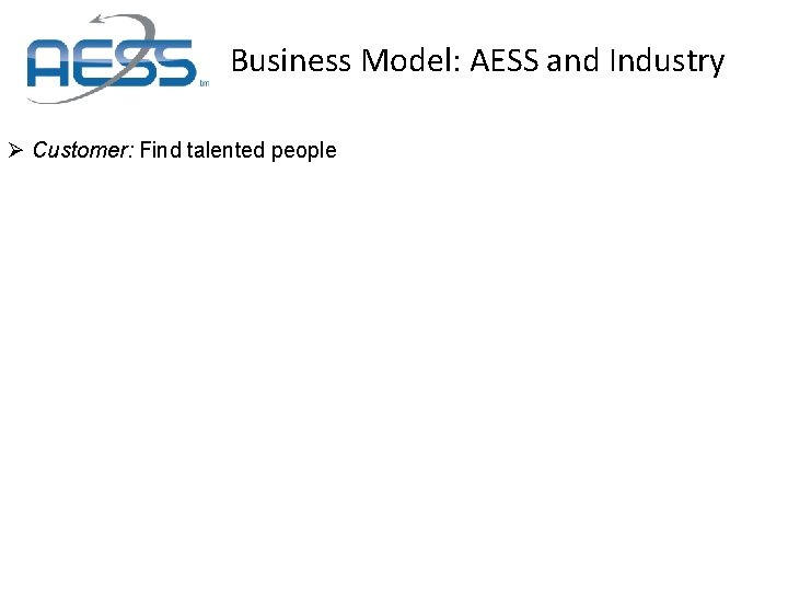 Business Model: AESS and Industry Ø Customer: Find talented people