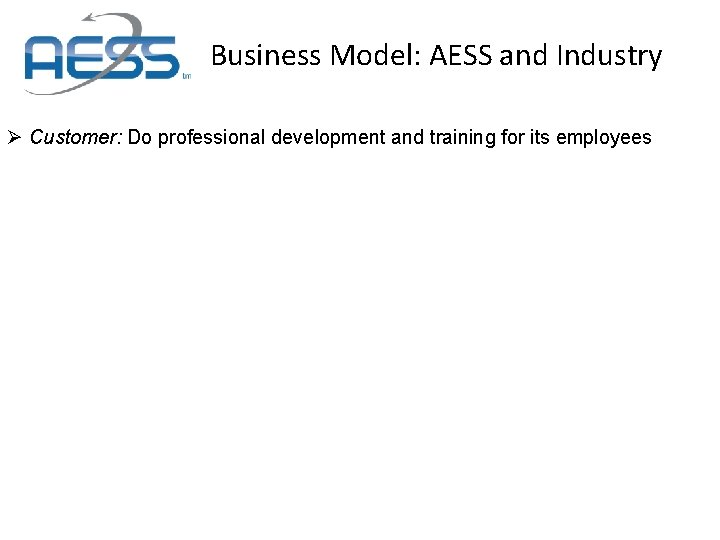Business Model: AESS and Industry Ø Customer: Do professional development and training for its