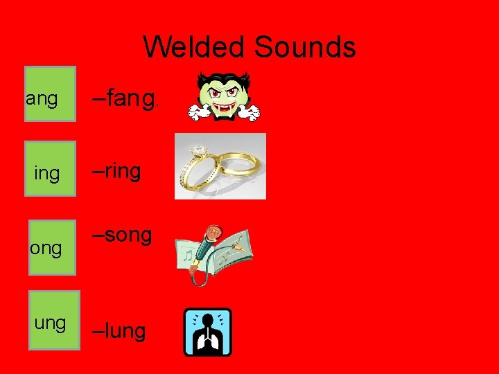 Welded Sounds ang ing ong ung –fang. –ring –song –lung