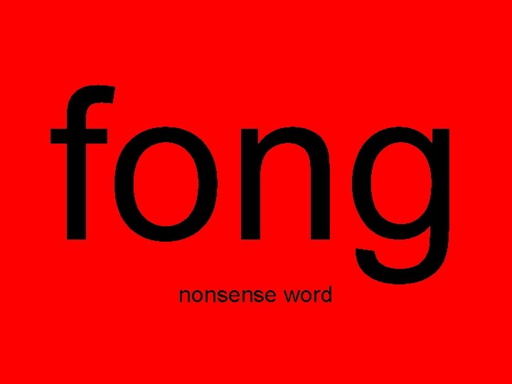 fong nonsense word