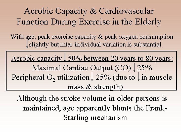 Aerobic Capacity & Cardiovascular Function During Exercise in the Elderly With age, peak exercise