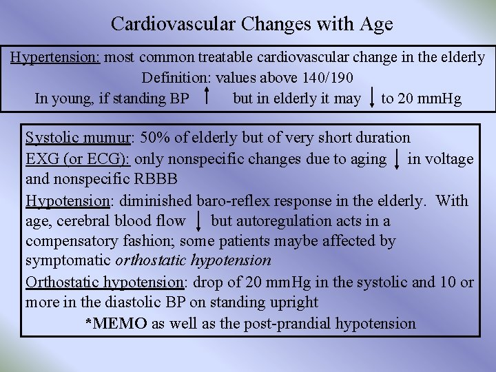Cardiovascular Changes with Age Hypertension: most common treatable cardiovascular change in the elderly Definition: