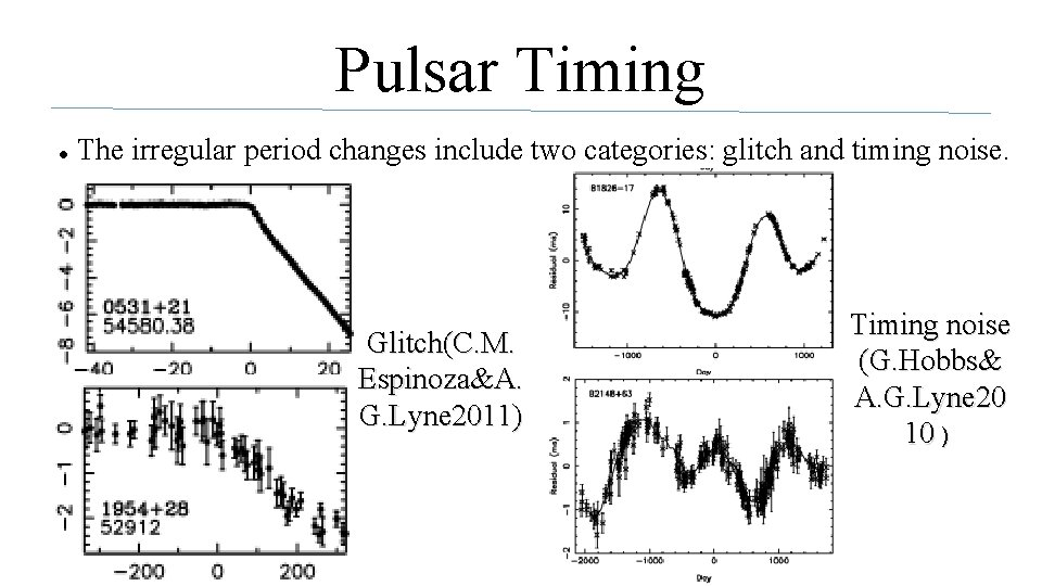 Pulsar Timing ● The irregular period changes include two categories: glitch and timing noise.
