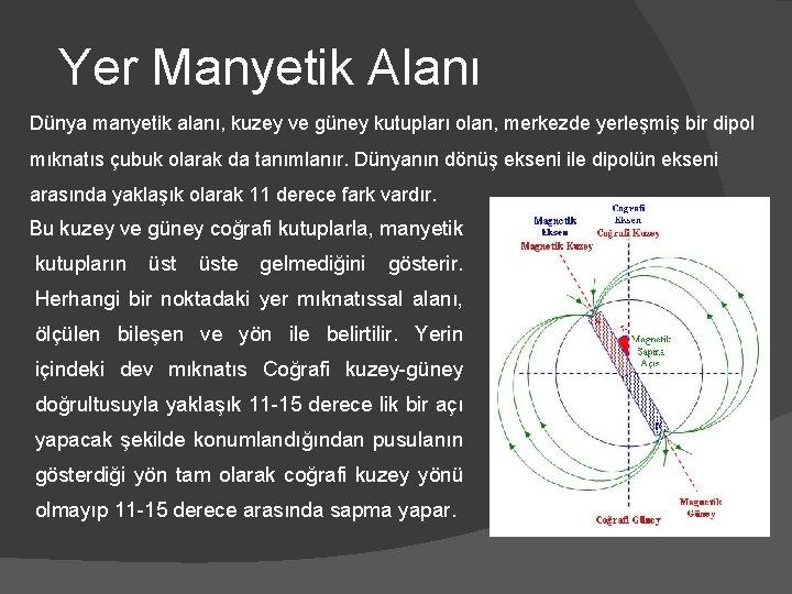 Yer Manyetik Alanı Dünya manyetik alanı, kuzey ve güney kutupları olan, merkezde yerleşmiş bir