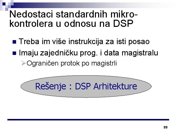 Nedostaci standardnih mikrokontrolera u odnosu na DSP Treba im više instrukcija za isti posao