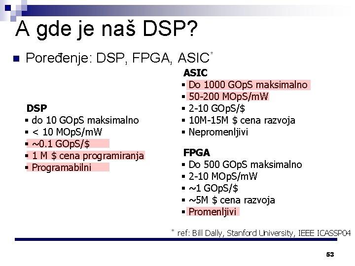 A gde je naš DSP? n Poređenje: DSP, FPGA, ASIC* ASIC § Do 1000