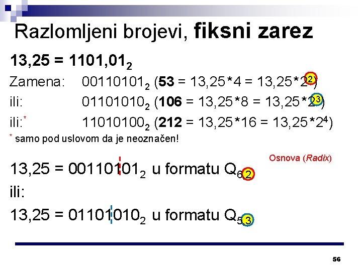 Razlomljeni brojevi, fiksni zarez 13, 25 = 1101, 012 Zamena: ili: * * 001101012
