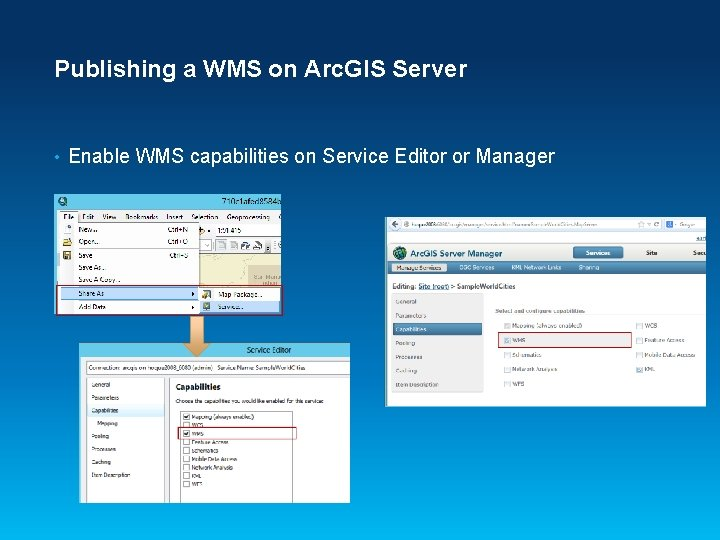 Publishing a WMS on Arc. GIS Server • Enable WMS capabilities on Service Editor