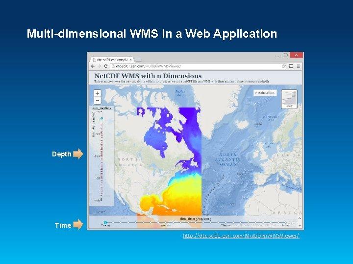 Multi-dimensional WMS in a Web Application Depth Time http: //dtc-sci 01. esri. com/Multi. Dim.