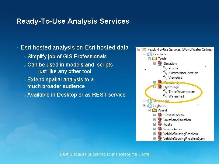 Ready-To-Use Analysis Services • Esri hosted analysis on Esri hosted data o Simplify job