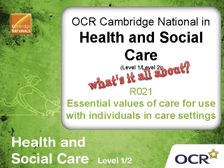 OCR Cambridge National in Health and Social Care (Level 1/Level 2) R 021 Essential