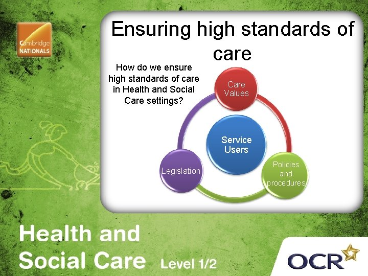 Ensuring high standards of care How do we ensure high standards of care in