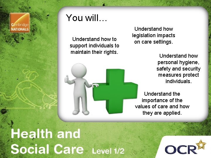 You will… Understand how to support individuals to maintain their rights. Understand how legislation