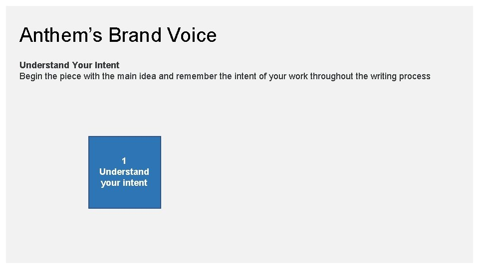 Anthem's Brand Voice Understand Your Intent Begin the piece with the main idea and