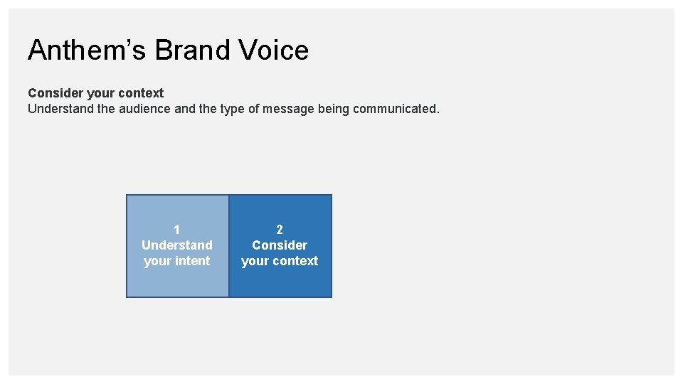 Anthem's Brand Voice Consider your context Understand the audience and the type of message