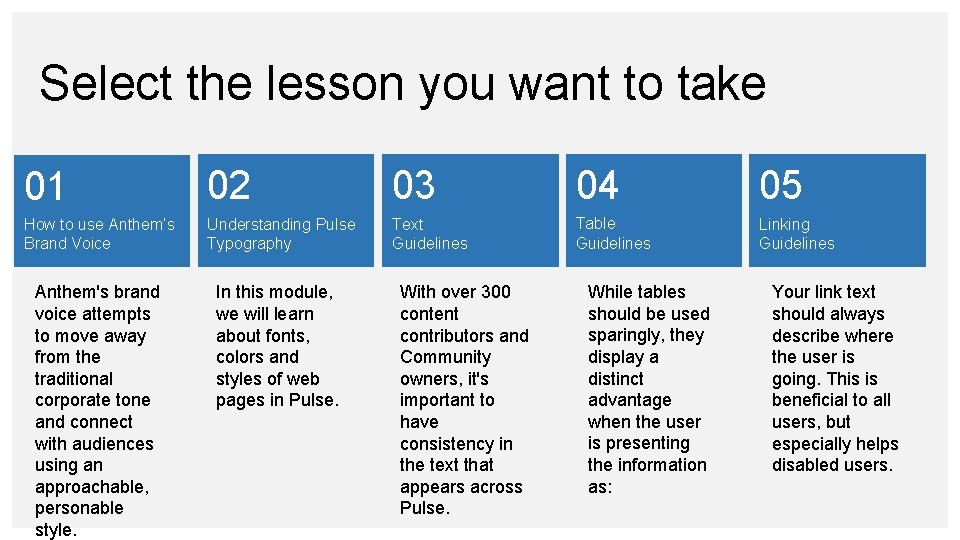 Select the lesson you want to take 01 02 03 04 05 How to