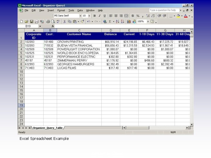 Excel Spreadsheet Example Export to Excel
