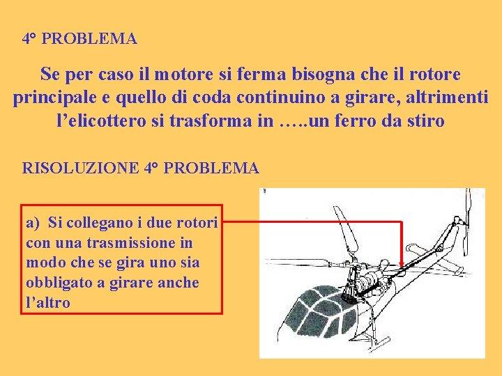 4° PROBLEMA Se per caso il motore si ferma bisogna che il rotore principale