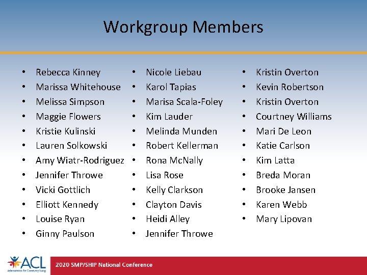 Workgroup Members • • • Rebecca Kinney Marissa Whitehouse Melissa Simpson Maggie Flowers Kristie