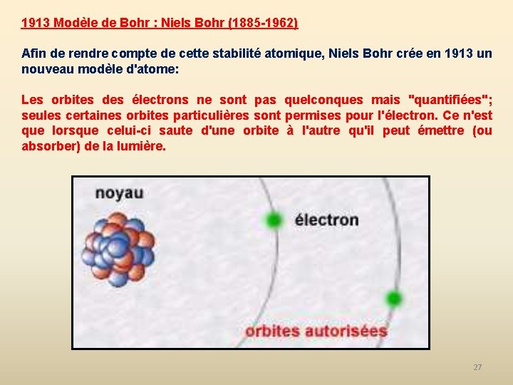 1913 Modèle de Bohr : Niels Bohr (1885 -1962) Afin de rendre compte de