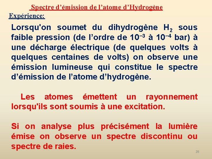 Spectre d'émission de l'atome d'Hydrogène Expérience: Lorsqu'on soumet du dihydrogène H 2 sous