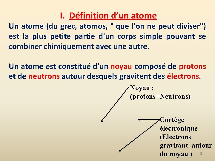 """I. Définition d'un atome Un atome (du grec, atomos, """" que l'on ne peut"""