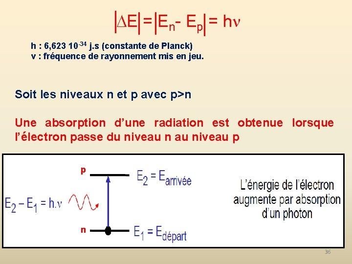 E = En- Ep = h h : 6, 623 10 -34 j.