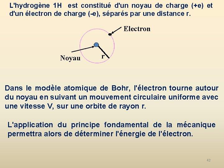 L'hydrogène 1 H est constitué d'un noyau de charge (+e) et d'un électron de