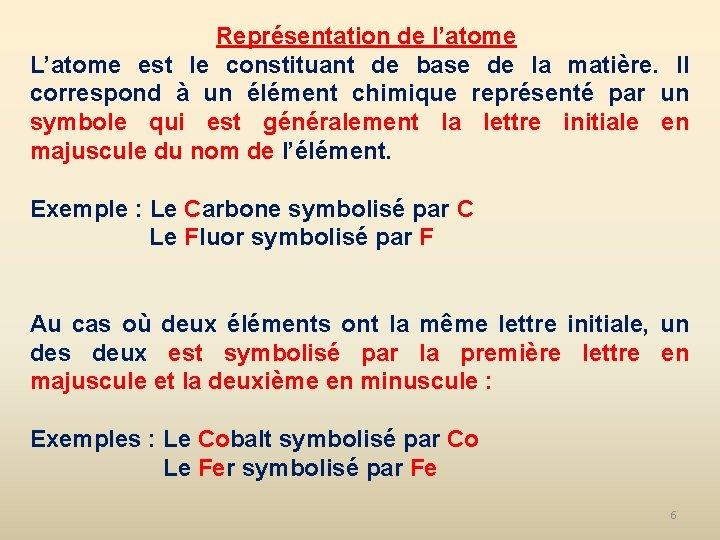 Représentation de l'atome L'atome est le constituant de base de la matière. Il