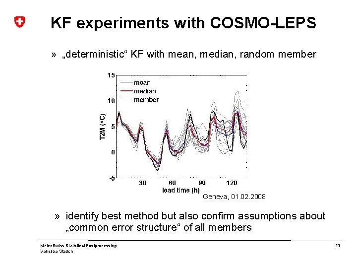 """KF experiments with COSMO-LEPS » """"deterministic"""" KF with mean, median, random member Geneva, 01."""