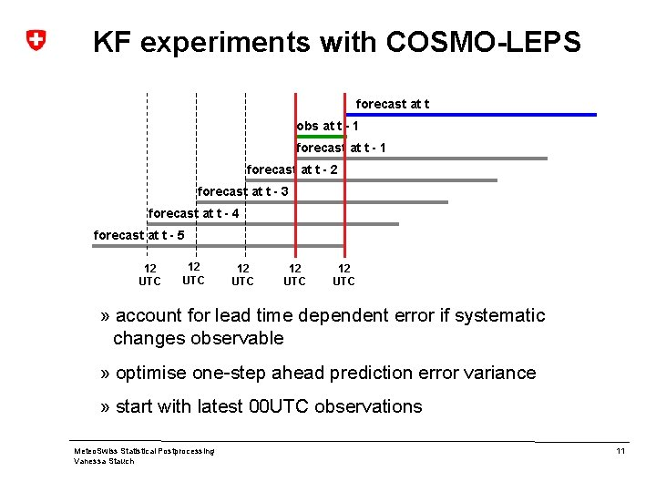 KF experiments with COSMO-LEPS forecast at t obs at t - 1 forecast at
