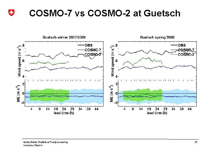 COSMO-7 vs COSMO-2 at Guetsch Meteo. Swiss Statistical Postprocessing Vanessa Stauch 15