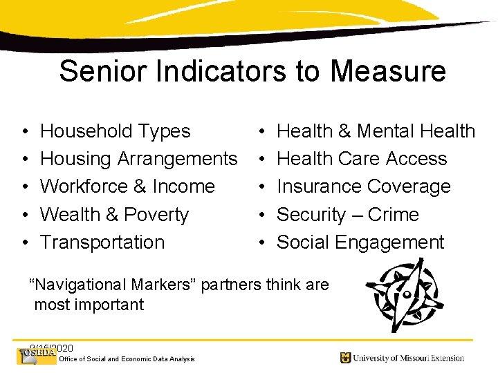 Senior Indicators to Measure • • • Household Types Housing Arrangements Workforce & Income