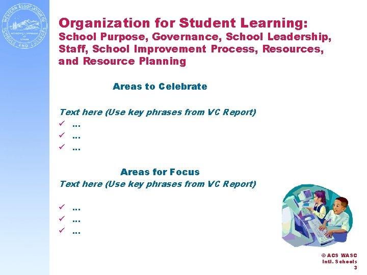 Organization for Student Learning: School Purpose, Governance, School Leadership, Staff, School Improvement Process, Resources,