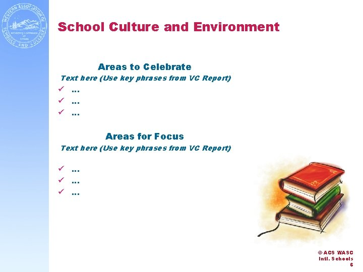 School Culture and Environment Areas to Celebrate Text here (Use key phrases from VC
