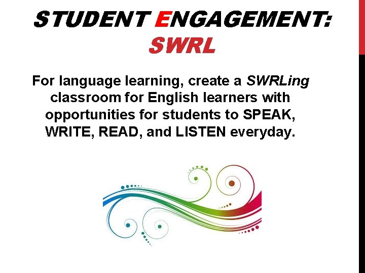 STUDENT ENGAGEMENT: SWRL For language learning, create a SWRLing classroom for English learners with
