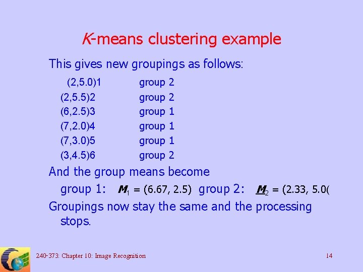 K-means clustering example This gives new groupings as follows: (2, 5. 0)1 (2, 5.