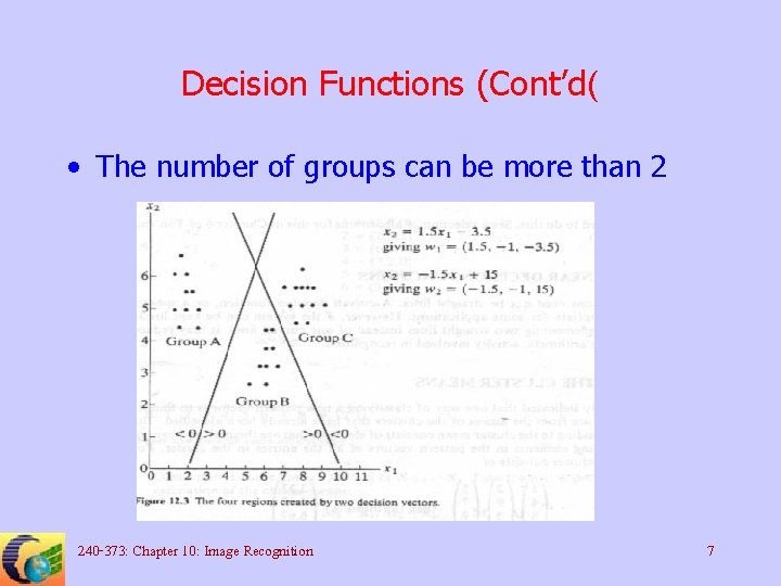 Decision Functions (Cont'd( • The number of groups can be more than 2 240