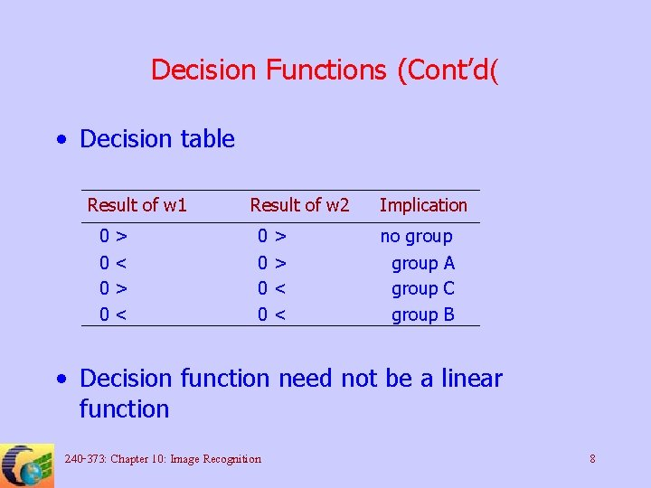 Decision Functions (Cont'd( • Decision table Result of w 1 0 0 > <