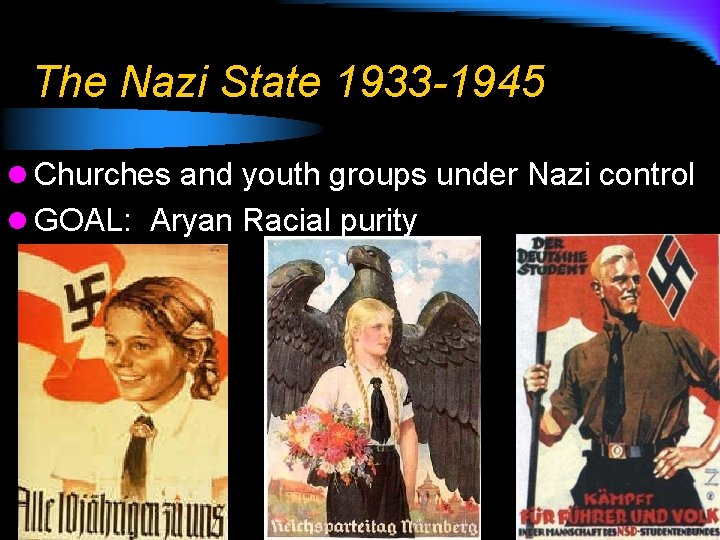 The Nazi State 1933 -1945 l Churches and youth groups under Nazi control l