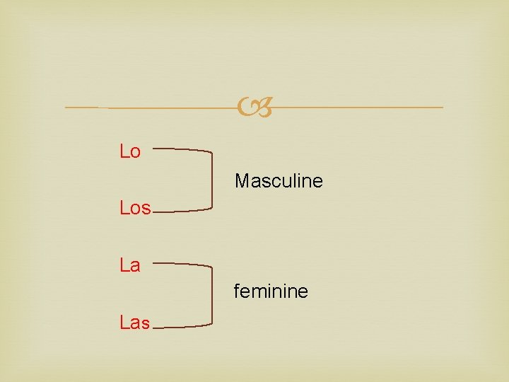 Lo Masculine Los La feminine Las