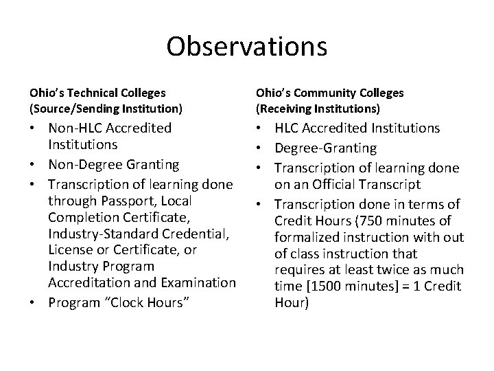 Observations Ohio's Technical Colleges (Source/Sending Institution) Ohio's Community Colleges (Receiving Institutions) • Non-HLC Accredited