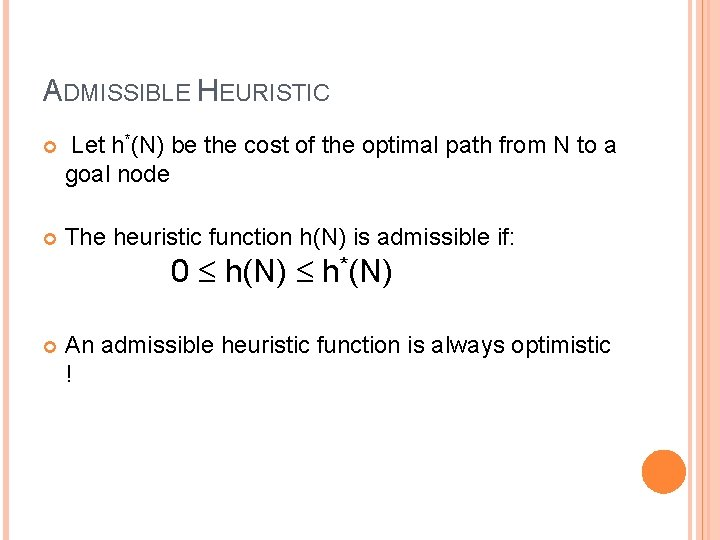 ADMISSIBLE HEURISTIC Let h*(N) be the cost of the optimal path from N to