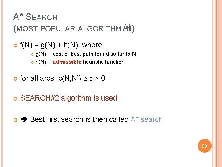 A* SEARCH (MOST POPULAR ALGORITHM AI) IN f(N) = g(N) + h(N), where: g(N)