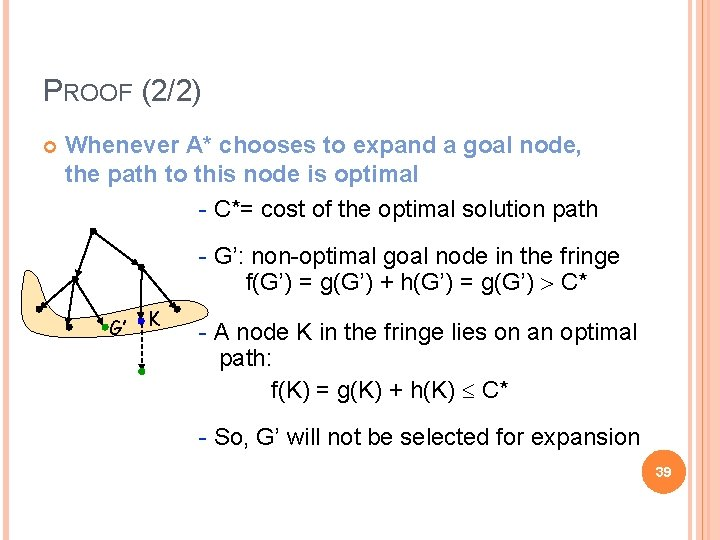 PROOF (2/2) Whenever A* chooses to expand a goal node, the path to this