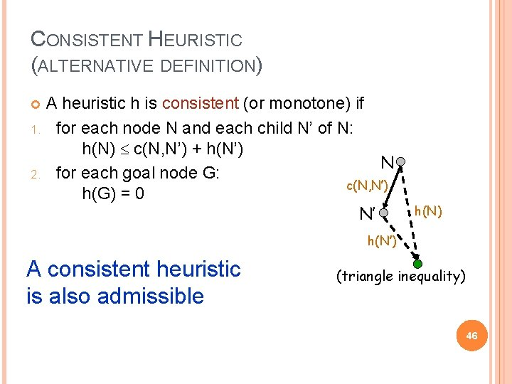 CONSISTENT HEURISTIC (ALTERNATIVE DEFINITION) A heuristic h is consistent (or monotone) if 1. for