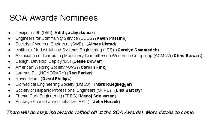SOA Awards Nominees ● ● ● ● Design for 90 (D 90) (Adithya Jayakumar)