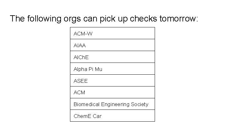 The following orgs can pick up checks tomorrow: ACM-W AIAA Al. Ch. E Alpha